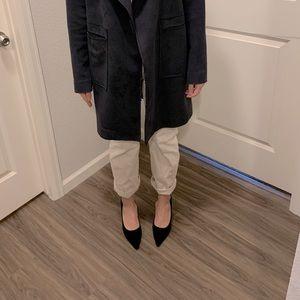 Suede, Square-Heel Pointed Heels